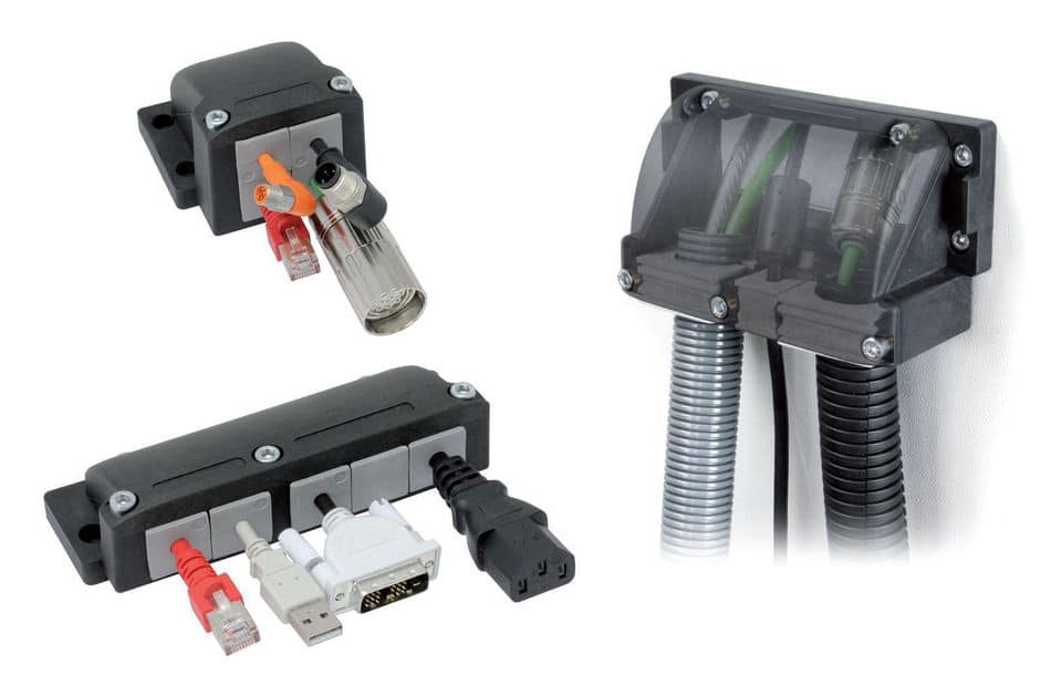 Flanschgehäuse ermöglicht Einführung, Abdichtung und Zugentlastung von Kabeln im 90°-Winkel
